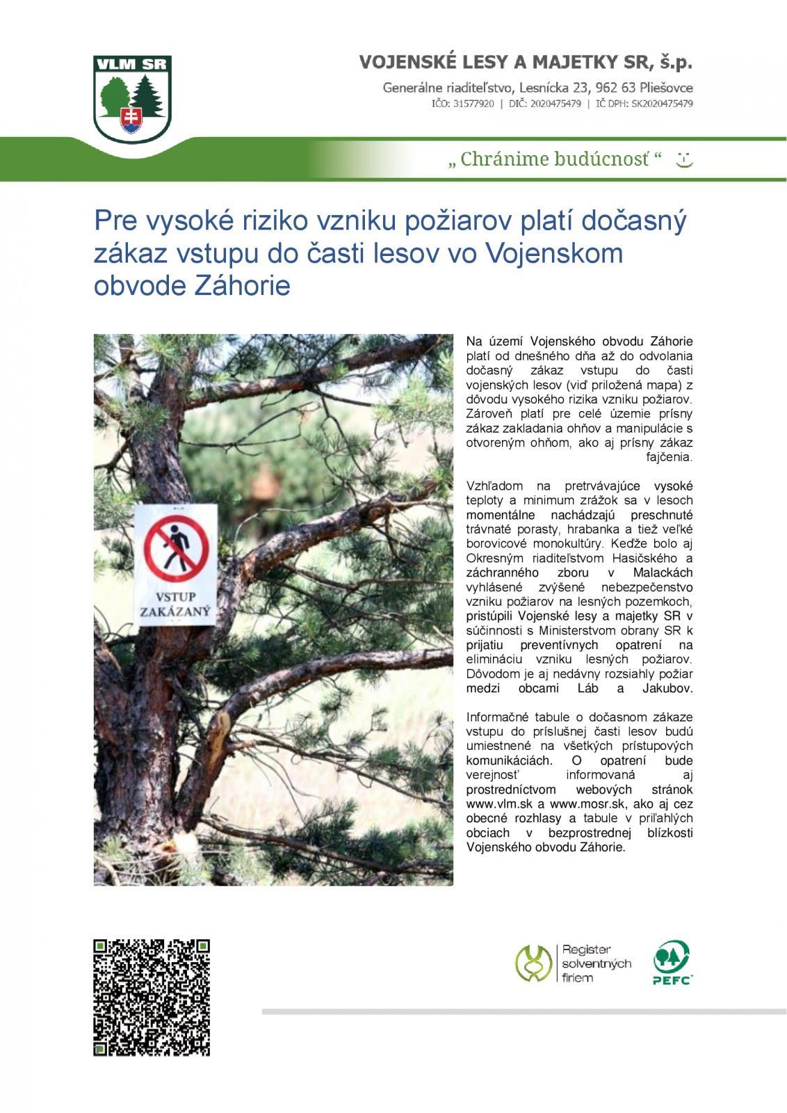83604fe067 Zákaz vstupu do časti lesov vo Vojenskom obvode Záhorie